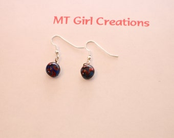 Stunning, blue and red fused glass earrings