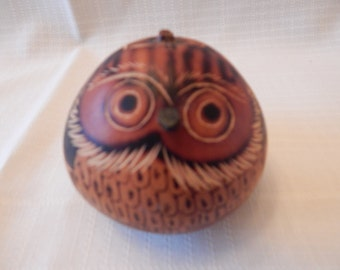 FREE SHIPPING: Dried Gourd Art, Wood Burned and Carved Owl