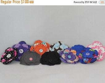 On sale Set 5- Destash- Set of 10 Fabric Flowers For Embellishing or Making Hair Clips