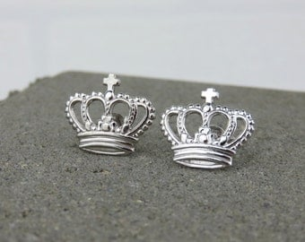 Silver Crown Stud Earrings - Available in Yellow Gold, Rose Gold or Silver
