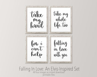 Printable wall art, Master bedroom art prints, Black and white wall art, Elvis inspired lyric print Romantic art prints HEART OF LIFE Design
