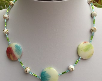 Handcrafted Green, Blue & Red Flower Beaded Necklace