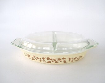 Vintage Acorns & Oaks Pyrex Oblong Divided Dish