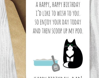 Printable Funny Birthday Cards, Black and White Cat Cards, Cat Dad Birthday Cards Instant Download, Printable Tuxedo Cat Cards, From the Cat
