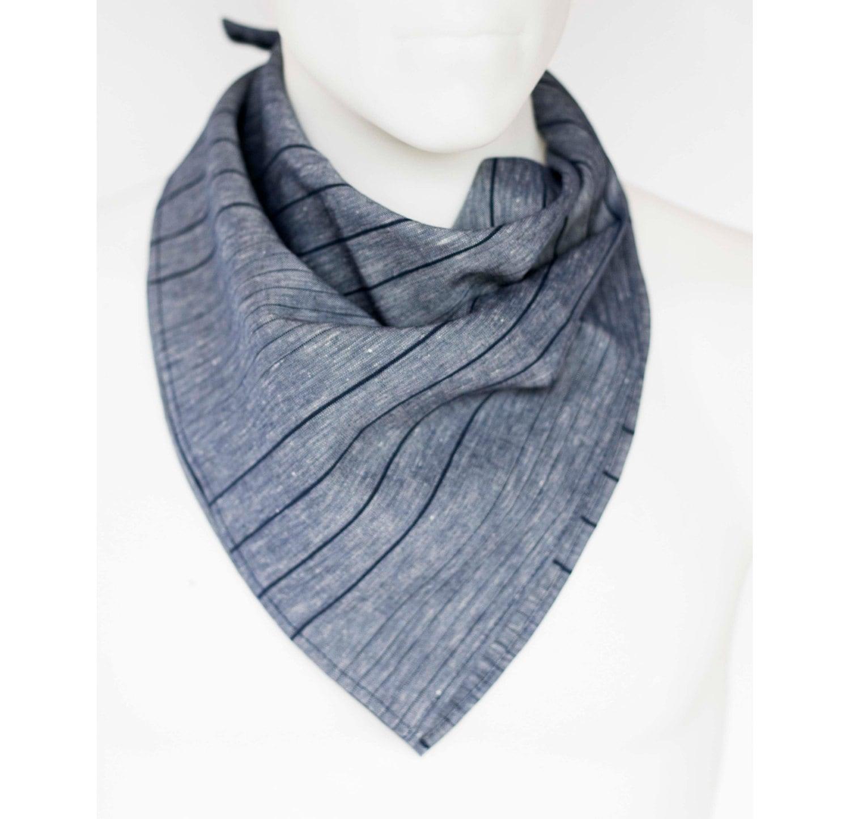 scarf mens fashion accessory blue linen bandanna or