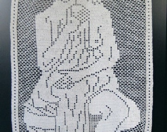 """Curtain door panel """"The bather"""" handmade cotton crochet lace. 9. Made in France"""