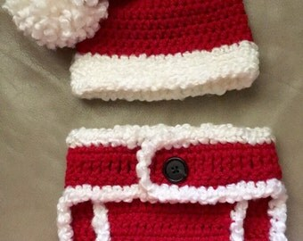 Crochet Christmas Santa Claus Newborn Set. --READY TO SHIP--