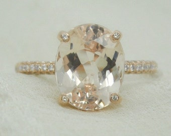 4.70 Ct. Oval Cut Morganite & Diamond Engagement Ring 14K Rose Gold