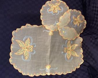 Vintage Yellow Embroidered Chiffon Duchess Set