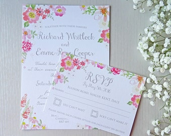 Secret Garden Pretty Pinks Floral Watercolour Wedding Invitation