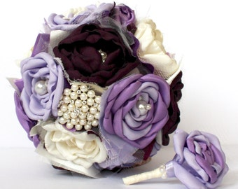Purple Wedding Bouquet - Plum, Lavender, Dark Purple Wedding Fabric Bouquet, Fabric Brooch Wedding Bouquet, Bridemaids Bouquets