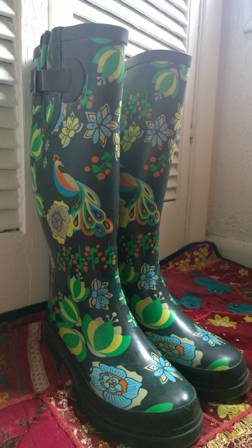 Vintage Rain Boots Psychedelic Peacock Bright Colorful Blue