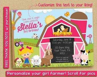 FARM GIRL INVITATION - Birthday Party Farm Animals - Pink Farm Invitation - Printable Invitation