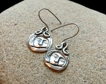 Fine Silver Earrings With Indian Face