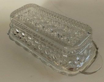 Anchor Hocking Wexford Pattern Pressed Glass Butter dish