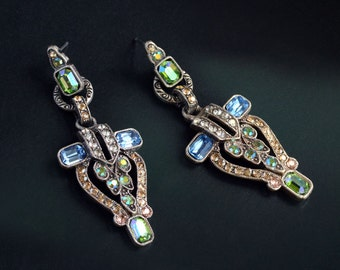Art Deco Crystal Torch Earrings, Vintage Earrings, Great Gatsby Jewelry, Flapper Earrings, Art Deco Jewelry, Geometric Earrings E1206