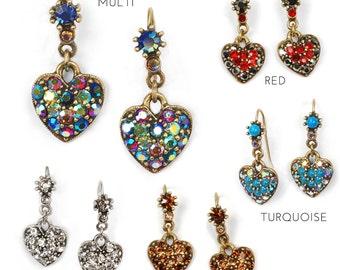 Crystal Heart Earrings, Heart Jewelry, Love, Romance, Colorful Earrings, Multi Color Jewelry, Heart Shape Jewelry, Gift for Her E337