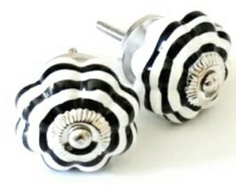 Ceramic Decorative Knob | Black/White Stripes | DIY Supplies | Door Knob |  Cabinet
