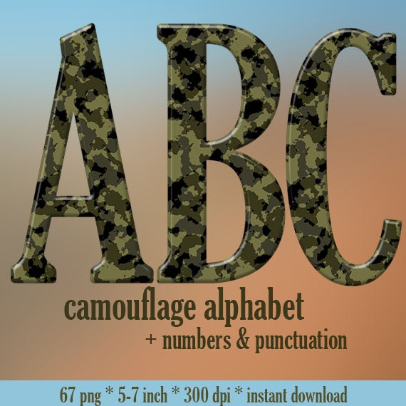 Camouflage Military Alphabet Clipart Printable Camo Letters