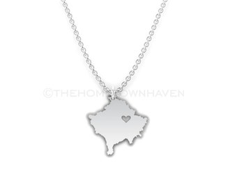 Kosovo Necklace - Kosovo outline necklace, Kosovo pendant necklace, I heart Kosovo necklace