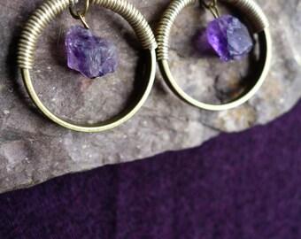Earrings ethnic rock with Amethyst