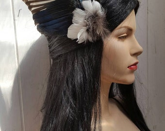 Gorgeous real magpie wing fascinator, taxidermy, party, bird wings, festival, burlesque
