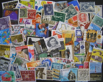 70 Different Vintage Dutch Postage Stamps, Netherland Stamps from Holland