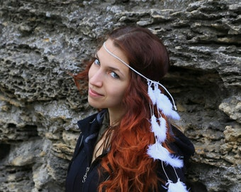 Wedding White Boho Feather Headband Tribal Native American Leather Hair Jewelry Hippie style Feather headpiece costume Festival gift for her