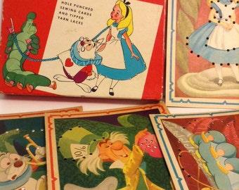 Walt Disney's Alice In Wonderland Sewing Cards 1951