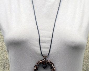 Copper wire circular pendant Wire wrapped pendant with volcanic lava stone Copper wire woven pendant Volcanic lava pendant Antique wire