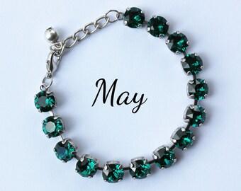 May Birthstone Bracelet - 8mm Green Emerald Swarovski Crystal Bracelet