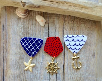 3 Medal handmade brooches,medal pin,nautical pin brooch,nautical set jewelry,navy accessories,gift for her,gift for him,gift for groomsman