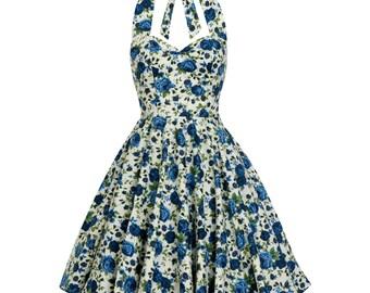 Vintage Inspired Dress Blue Rose Floral Bridesmaid Dress Summer Dress Sun Dress Pin Up Dress Rockabilly Dress Swing Dress Plus Size Dress