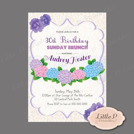 30th Birthday Invitation. Sunday Brunch Birthday Invitation