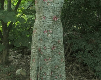 Vintage Gauze Dress, long sleeveless BUTTON DOWN MAXI, Sage Green rayon, pink flowers, 90s hippie chic, flowing Boho festival sundress, s/m