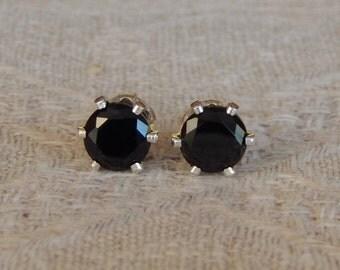 Spinel 5mm Studs, Black Spinel Sterling Silver or 14 Karat Gold Filled Posts, Black Stud Earrings, Black Jewelry, Natural Black Spinel