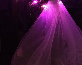 PINK Bridal Veil LED Crown, perfect for bachelorette parties, festival weddings, night ceremonies, wedding receptions, bridal gift