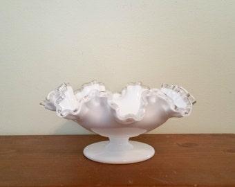 Fenton Silvercrest Pedestal Bowl, Milk Glass Footed Bowl, Milk Glass Decor, Milk Glass Bowl, 1950s