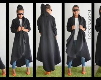 Maxi coat / Black warm coat /Long extravagant coat /Women wool coat /Adorable Cashmere coat /Winter wool coat