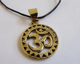 Circle Om Ohm Aum brass pendant On Wax Cord Yoga Jewellery Adjustable Unisex Free UK Shipping + Gift Bag CH3