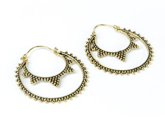 Large Flat Hoop Earrings with curved clasp handmade, circle shape, Brass, dots Earrings , Circle Earrings, Gift boxed, Free UK post BR20