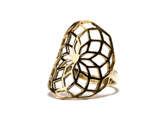 Flower Of Life Ring Brass Sacred Geometry Ring, Yoga Jewellery,  Tribal Jewellery Gift Boxed + Gift Bag , Free UK Delivery