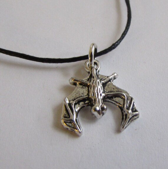 Bat Charm On Wax Cord Adjustable Unisex Free UK Shipping + Gift Bag CH4
