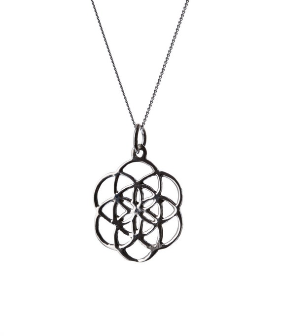 Seed of Life Sterling Silver Pendant Necklace Spiritual jewellery Yogi Jewellery Geometry Jewellery Handmade Free UK delivery