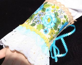Romantic Blue Rose Barkcloth Shabby Chic Wristcuff