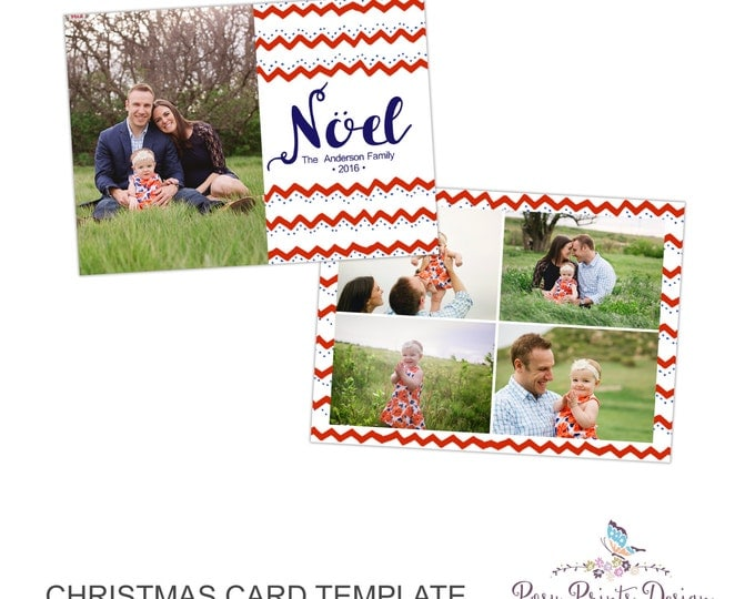 Christmas Card Photoshop Template - Noel - 5x7 Photo Card - INSTANT DOWNLOAD or Printable - CC36