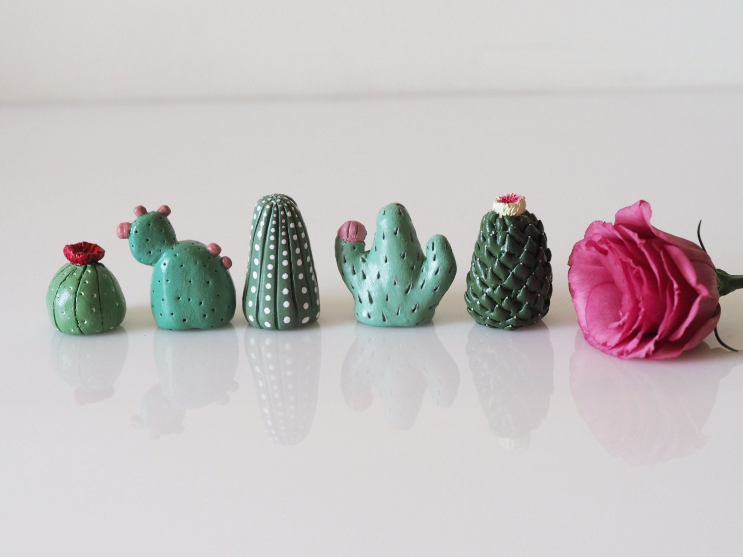 Miniature cactus set of 5 collectible thimbles cactus for Air dry clay crafts