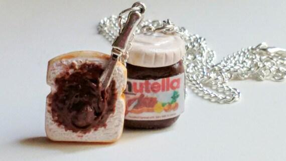 Jar of Nutella and Slice of Bread Necklace, Miniature Food Jewelry, Kid's Jewelry - Nutella Jar, Inedible Jewelry, Kawaii Jewelry, Fake Food