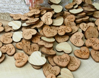 100 Mr And Mrs Wood Hearts, Wood Confetti Engraved Love Hearts, Rustic  Wedding Decor