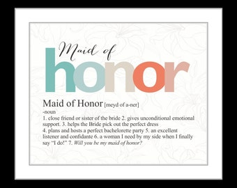 Will you be my maid of honor gifts | Etsy